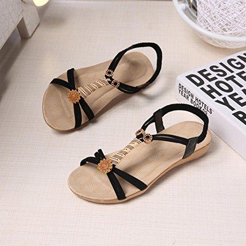 Sandalias de vestir, Ouneed ® Las mujeres vendaje Bohemia sandalias Peep-Toe suave ojotas Negro