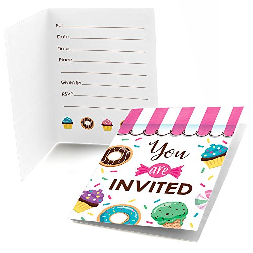 Big Dot of Happiness Sweet Shoppe - Fill in Candy and Bakery Birthday Party or Baby Shower Invitations (8 Count)]()