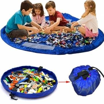 Blue Portable Kids Toys Storage Bag Play Mat Toy Organizer Rug Box by Completestore
