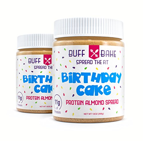 Buff Bake, Protein Almond Spread, (Birthday Cake) - 13 OZ (Pack of 2)