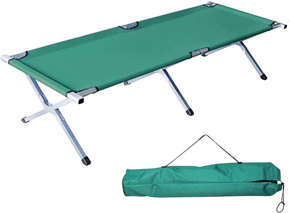 Homevibes Folding Lightweight Bed Portable Camping Cot with Carry Bag for Adults Hiking Hunting Traveling, Blue Black Green Beige Gray