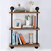 Exblue Industrial Pipe Shelves with Wood, Rustic Wall Shelves