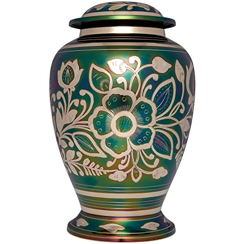Green Funeral Urn by Liliane Memorials - Cremation Urn for Human Ashes - Hand Made in Brass - Suitable for Cemetery Burial or Niche - Large Size fits remains of Adults up to 200 lbs - Ayelet Model - Cremation Memorial