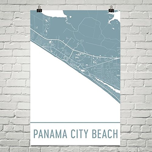 Panama City Beach Poster, Panama City Beach Art Print, Panama City Beach Map, Panama