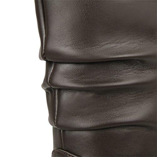 Su Donna Piattaforma Mid Nappa Scarpe Marrone Tacco Polpaccio Zeppa Xianshu Messo Stivali TgqCwn8qf