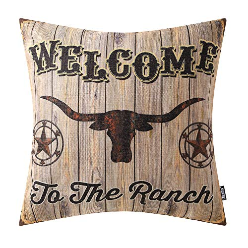 TRENDIN Decorative Throw Pillow Cover 18x18 inch Welcome to The Ranch Cushion Case Square Shape PL274TR from TRENDIN