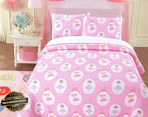 Werrox Cute Ballerina Print 100% Cotton Quilt Set, Bedspread, Coverlet Full/Queen Size | Quilt Style QLTR-291267954