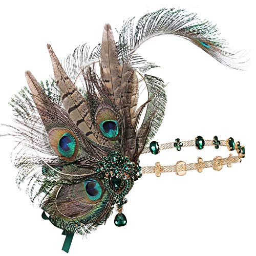 Coucoland 1920s Flapper Headband Peacock Feather Gatsby Headpiece Roaring 20s Hair Accessories for Women]()