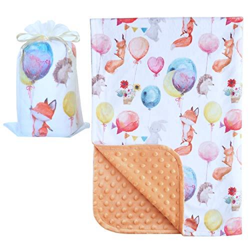 - Bundled Joy Baby Gifts - Premium Soft Plush Lightweight Minky Dot Toddler Baby Newborn Blanket Boys Girls Unisex Fox Balloon Orange