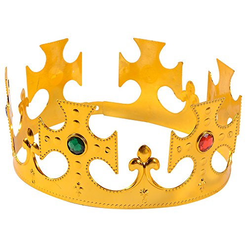 Adjustable Gold King Crown- Royal Jeweled Crowns by Funny Party Hats
