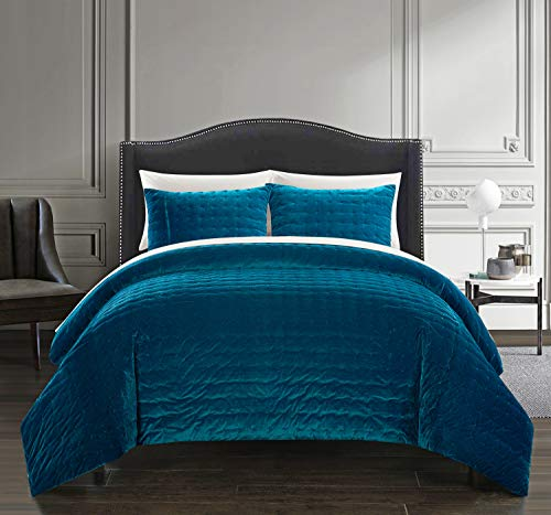 (Chic Home Chyna 3 Piece Comforter Set Luxurious Hand Stitched Velvet Bedding - Decorative Pillow Shams Included, King, Teal)