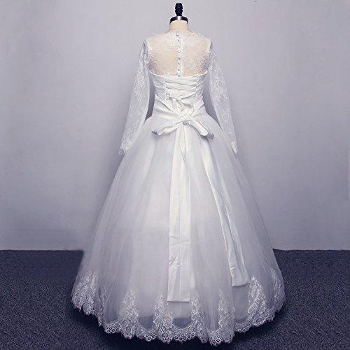 Dzdress Au Large De La Pleine Épaule Manches Des Femmes À Lacets Blanc Robe De Mariée Longue