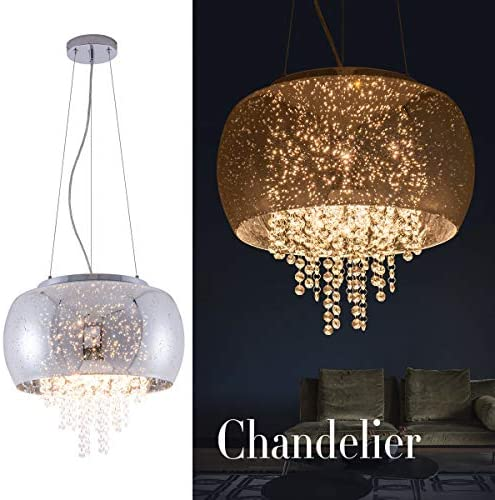 Crystal Modern Pendant Light Grey Bubble Glass Shade Chandeliers Drum with Hanging Crystals for Hallway, Bedroom, Living Room, Kitchen, Dining Room,UL Listed, HUOYAN-LIGHTING