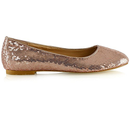 Rose On Womens Bridesmaid Ladies Girl Shoes Slip Gold Sequins Size 3 ESSEX 9 Bridal Ballet Flat Flower Sparkly Pumps GLAM CF4qnnxS