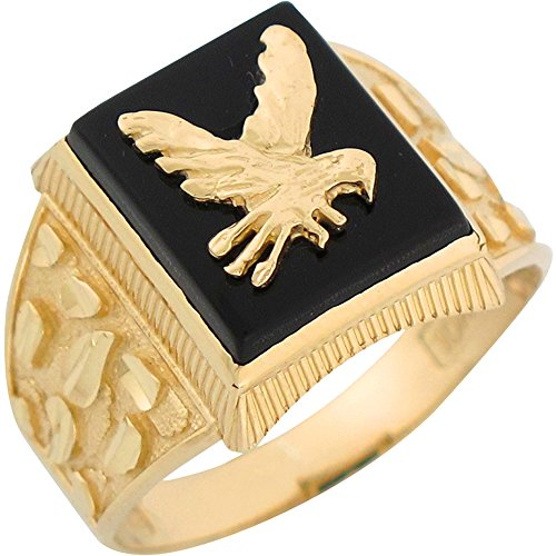 14k Yellow Gold Onyx Flying Eagle Mens Diamond Cut Nugget Mens Ring ()