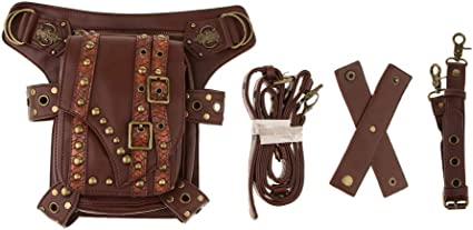 Fityle Steampunk PU Leather Waist Bag Vintage Gothic Rock Fanny Pack Leg Bag Belt