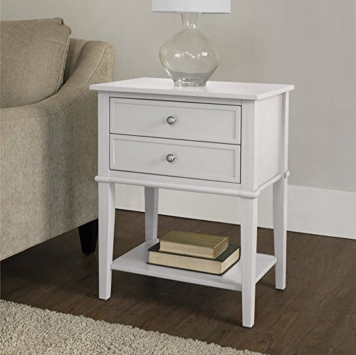 22' White Bowl (Accent End Table with 2 Storage Drawers - Bedroom Nightstand - Contemporary Living Room Colroed Side Table (White))