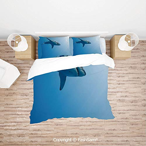 FashSam Luxury 4 Pieces Duvet Cover Bedding Set Fish Swimming in The Ocean Underwater Beauty Tropical Island Water Nature Landscape for Family(Single)