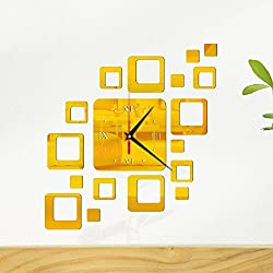 Gold Happy Creative Wall Clock Quartet DIY Acrylic Mirror Decorative Big Size Fashion Sticker Modern Home Decor Mechanism Needles