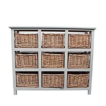 Casamoré Gloucester Petite 9 Willow Basket Drawer Storage Unit Chest in Pearl White Painted Finish  sc 1 st  Amazon UK & Casamoré Gloucester Petite 9 Willow Basket Drawer Storage Unit Chest in Pearl White Painted Finish