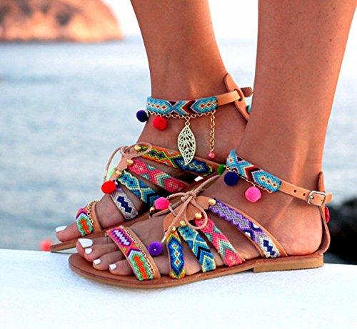 Cystyle - Sandalias Romanas Mujer Multicolor