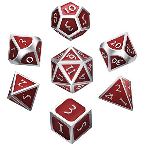 Hestya 7 Pieces Metal Dices Set DND Game Polyhedral Solid Metal D&D Dice Set with Storage Bag and Zinc Alloy with Enamel for Role Playing Game Dungeons and Dragons (Silver Edge Red)