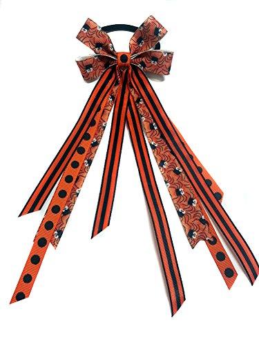 - Itsy Bitsy Spider Halloween Hair Bow Ribbon Streamer Ponytail Holder (Scrunchie)