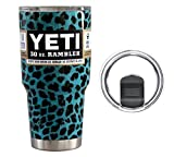 : YETI Coolers 30 Ounce (30oz) (30 oz) Custom Powder Coated or Hydro Dipped Rambler Tumbler Cup Travel Mug with Exclusive Spill Resistant Lid (Teal Leopard)