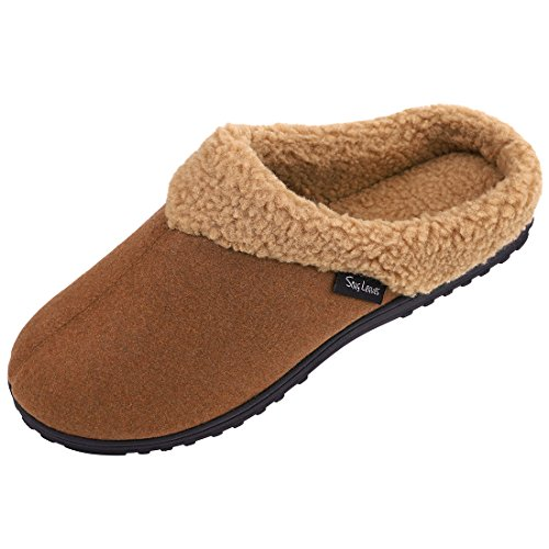Snug Leaves Mens Cozy Memory Foam Slippers Wool Plush Fleece Lined Indoor Outdoor House Shoes (Medium, Camel) (Outline Leaf Fall)