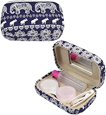 Caja Lentillas Mujer lentes de contacto Estampado de elefante de Bohemia Estuche de viaje para lentes de contacto con espejo: Amazon.es: Salud y cuidado personal