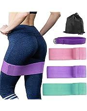 OFUN Fitnessbänder Set 3 Stärken, Widerstandsbänder krafttraining aus Doppelseitige Gleitscheiben Stoff, Trainingsband für Bauchmuskeln,Beine und Hüften & Yogagurt