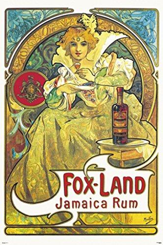 Alphonse Mucha- Fox Land Jamaica Rum Poster by Alphonse Mucha 24 x 36in