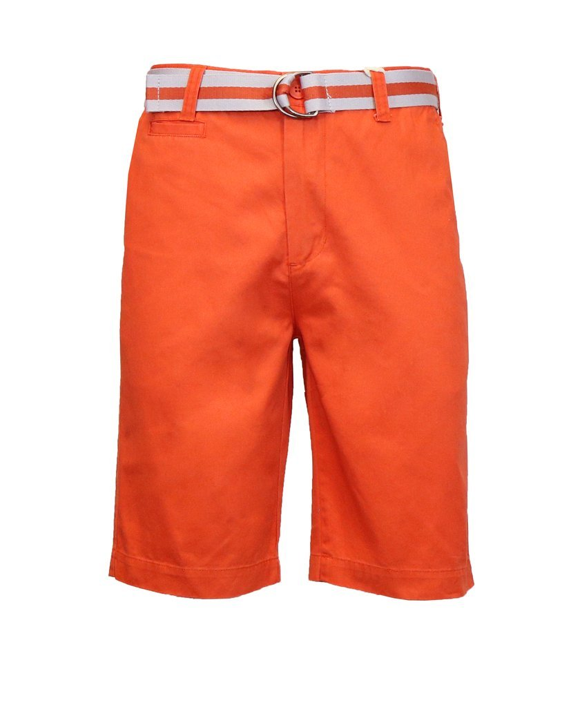 Galaxy by Harvic Men's 100% Fine Cotton Twill Flat Front Belted Shorts with Contrast Stripe - Mecca Orange, Size 40