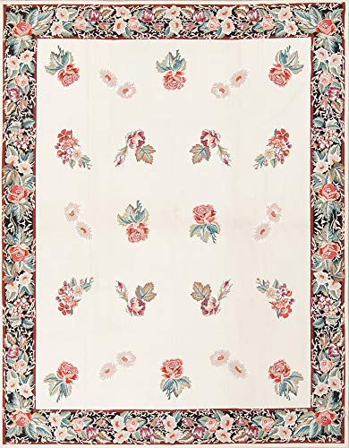 (Rug Source One-of-A-Kind Aubusson Floral Transitional Hand-Woven 8x10 Beige Wool Oriental Area Rug (9' 8