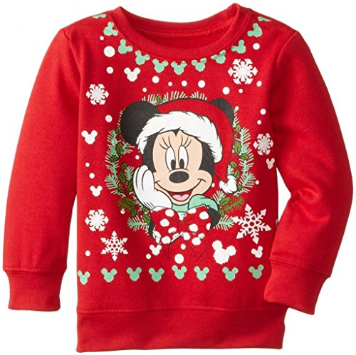 (Disney Minnie Mouse Glitter Christmas Youth Sweatshirt (Large 10))