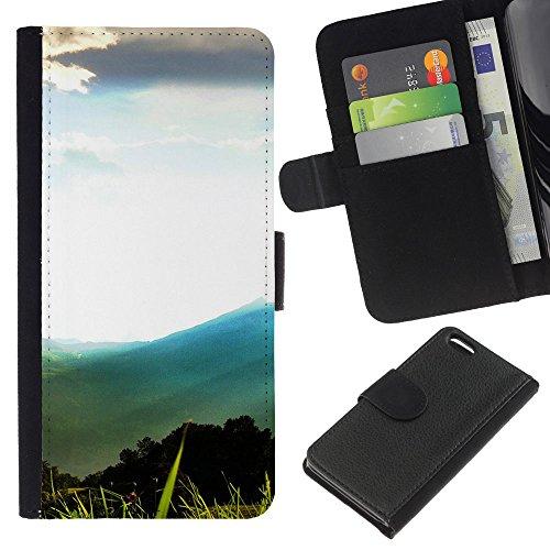 Funny Phone Case // Cuir Portefeuille Housse de protection Étui Leather Wallet Protective Case pour Apple Iphone 5C /Montagne Forrest Paysage/