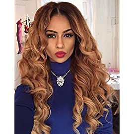 Brazilian Human Hair Ombre Blonde Full Lace Wigs Dark Root Loose Wave Lace Front Wig Bleached Knot Pre Plucked Hairline 180% Density (18 Inch, Lace Front Wig)