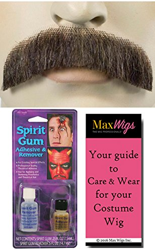 Bundle 3 items: M2 Downturn Mustache Human Hair Lace Backed Hand-Made Freddie Burt Fake Facial Lacey Wigs Color Dark Grey, Spirit Gum with Remover, MaxWigs Costume Wig Care Guide
