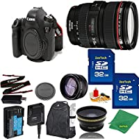 Great Value Bundle for 6D DSLR – 24-105MM L + 2PCS 32GB Memory + Wide Angle + Telephoto Lens + Backpack