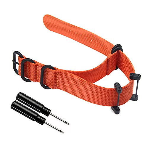 Feicuan 24mm Watch Strap Nylon NATO Watchbands Replacement Watch Straps for Suunto Core,Stainless Buckle with Spring Bar Tool - Orange