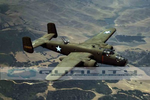 1942 B-25 Bomber Over Inglewood California Aviation [8 x 12 (Military Aircraft Bomber)