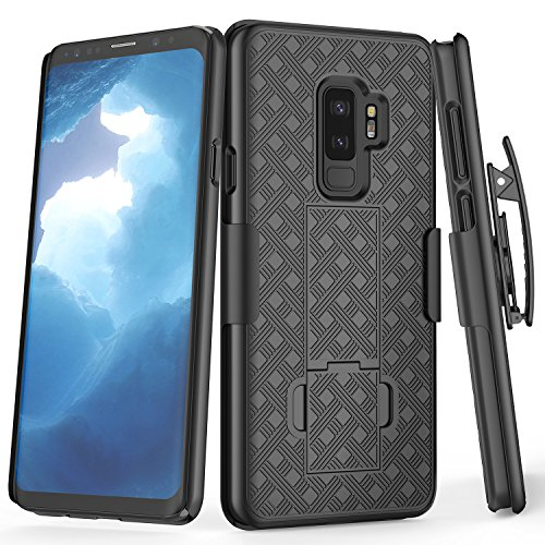 Galaxy S9 Plus Case, TILL [Thin Design] Holster Locking Belt Swivel Clip Non-Slip Texture Hard Shell [Built-in Kickstand] Combo Case Defender Cover for Samsung Galaxy S9 Plus / S9+ All Models [Black]