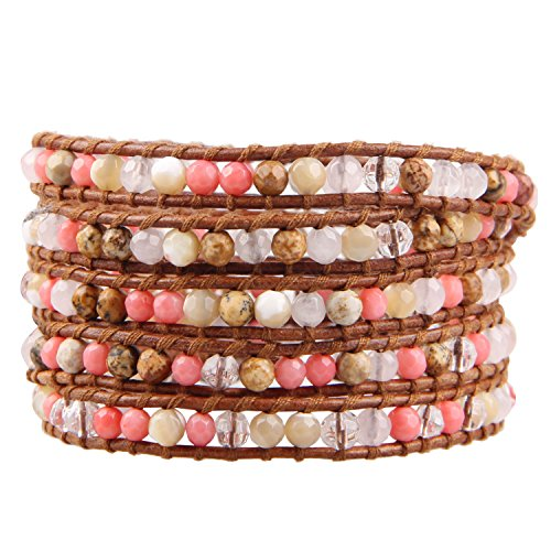KELITCH Picture Jasper, Pink Coral Stone Shell-Pearls 5 Wrap Bracelet on Brown - Black Friday Pink 90 Off