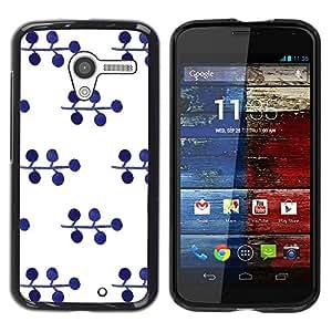 TopCaseStore / la caja del caucho duro de la cubierta de protección de la piel - Pattern Blueberry White Minimalist - Motorola Moto X 1 1st GEN I XT1058 XT1053 XT1052 XT1056 XT1060 XT1055