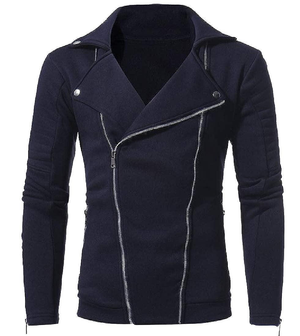 Winwinus Mens Multi-Zipper Slim Casual Pure Color Jersey Outwear