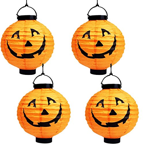 Asunflower Halloween Pumpkin Lantern, Battery Powered Jack-O-Lantern Paper Lamps - 4 Pack (Halloween O Helloween)