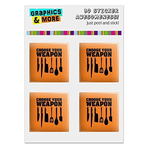 Graphics and More Choose Your Weapon Chef Baker Kitchen Tools Knife Spatula Computer Case Modding Badge Emblem Resin-Topped 1