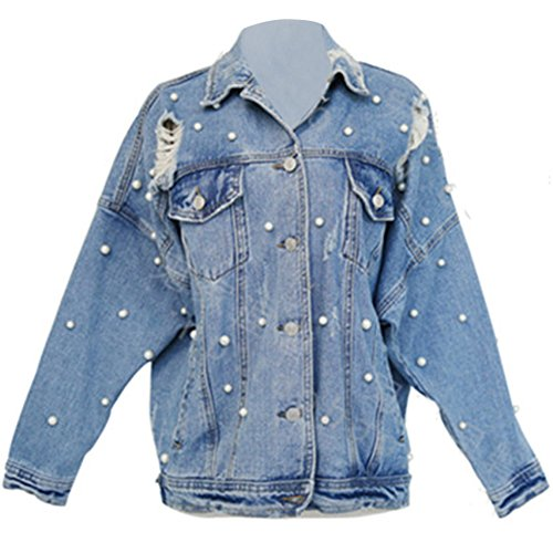 16c735409 CHICFOR Womens Denim Jacket Long Sleeve Boyfriend Ripped Pearl Beading  Button Up Denim Jean Jacket