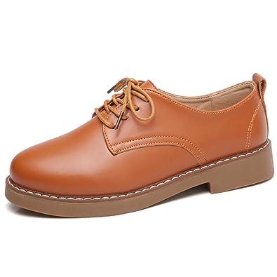 Zapatos De Mujer Zapatos De TacóN Bajo Mocasines con Cordones Microfibra De Cuero SóLido Punta Redonda Redonda Oficina Pisos Beige Zapatillas: Amazon.es: ...