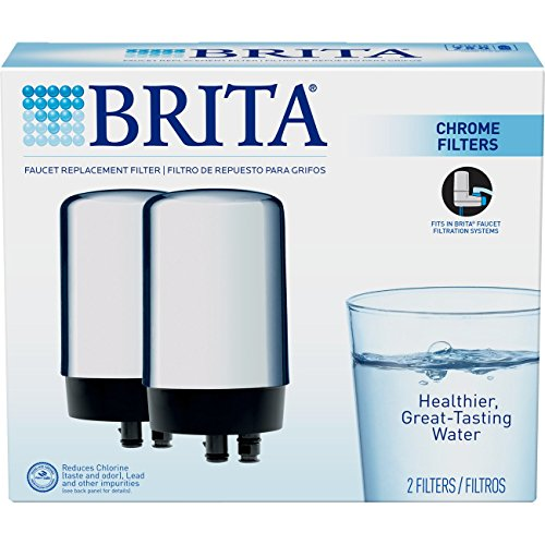 Brita On Tap Basic Water Faucet Filtration System Filter, Chrome, 2 pack